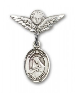 Pin Badge with St. Rose of Lima Charm and Angel with Smaller Wings Badge Pin [BLBP0928]