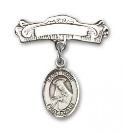 Pin Badge with St. Rose of Lima Charm and Arched Polished Engravable Badge Pin [BLBP0926]