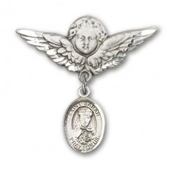 Pin Badge with St. Sarah Charm and Angel with Larger Wings Badge Pin [BLBP0941]