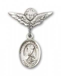 Pin Badge with St. Sarah Charm and Angel with Smaller Wings Badge Pin [BLBP0942]
