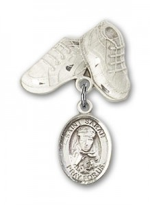 Pin Badge with St. Sarah Charm and Baby Boots Pin [BLBP0944]