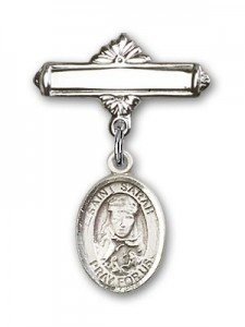 Pin Badge with St. Sarah Charm and Polished Engravable Badge Pin [BLBP0938]