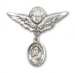 Pin Badge with St. Scholastica Charm and Angel with Larger Wings Badge Pin [BLBP0955]