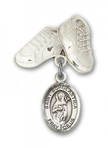 Pin Badge with St. Scholastica Charm and Baby Boots Pin [BLBP0958]