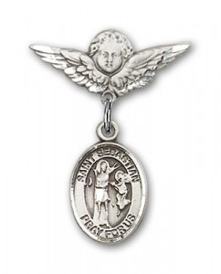 Pin Badge with St. Sebastian Charm and Angel with Smaller Wings Badge Pin [BLBP0963]