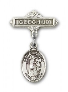 Pin Badge with St. Sebastian Charm and Godchild Badge Pin [BLBP0964]