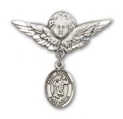 Pin Badge with St. Stephanie Charm and Angel with Larger Wings Badge Pin [BLBP1480]