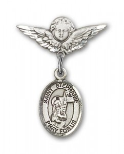 Pin Badge with St. Stephanie Charm and Angel with Smaller Wings Badge Pin [BLBP1481]