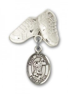 Pin Badge with St. Stephanie Charm and Baby Boots Pin [BLBP1483]