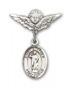 Pin Badge with St. Stephen the Martyr Charm and Angel with Smaller Wings Badge Pin [BLBP0991]
