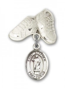 Pin Badge with St. Stephen the Martyr Charm and Baby Boots Pin [BLBP0993]