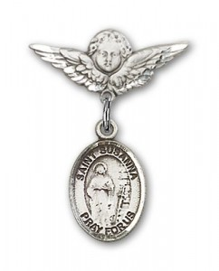 Pin Badge with St. Susanna Charm and Angel with Smaller Wings Badge Pin [BLBP1831]
