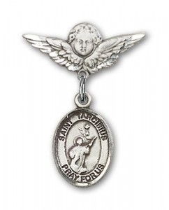 Pin Badge with St. Tarcisius Charm and Angel with Smaller Wings Badge Pin [BLBP1705]