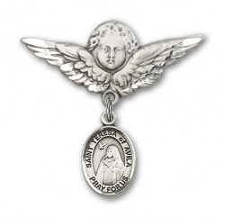 Pin Badge with St. Teresa of Avila Charm and Angel with Larger Wings Badge Pin [BLBP0976]
