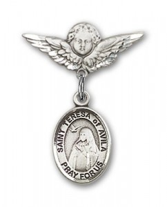 Pin Badge with St. Teresa of Avila Charm and Angel with Smaller Wings Badge Pin [BLBP0977]