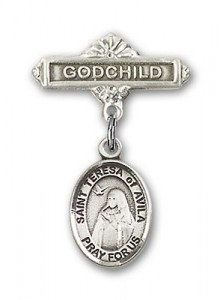 Pin Badge with St. Teresa of Avila Charm and Godchild Badge Pin [BLBP0978]
