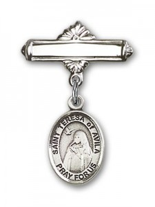 Pin Badge with St. Teresa of Avila Charm and Polished Engravable Badge Pin [BLBP0973]