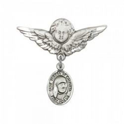Pin Badge with St. Teresa of Calcutta Charm and Angel with Larger Wings Badge Pin [BLBP1933]