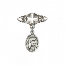 Pin Badge with St. Teresa of Calcutta Charm and Badge Pin with Cross [BLBP1931]