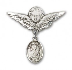 Pin Badge with St. Theresa Charm and Angel with Larger Wings Badge Pin [BLBP1004]