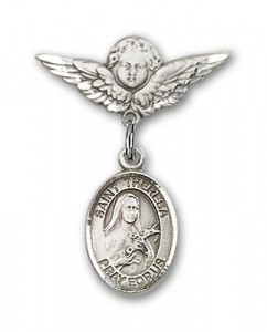 Pin Badge with St. Theresa Charm and Angel with Smaller Wings Badge Pin [BLBP1005]