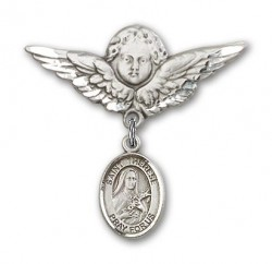 Pin Badge with St. Therese of Lisieux Charm and Angel with Larger Wings Badge Pin [BLBP1354]