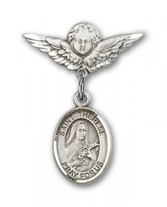 Pin Badge with St. Therese of Lisieux Charm and Angel with Smaller Wings Badge Pin [BLBP1355]