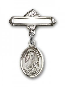Pin Badge with St. Therese of Lisieux Charm and Polished Engravable Badge Pin [BLBP1351]