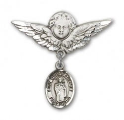 Pin Badge with St. Thomas A Becket Charm and Angel with Larger Wings Badge Pin [BLBP2234]