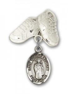 Pin Badge with St. Thomas A Becket Charm and Baby Boots Pin [BLBP2237]
