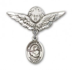 Pin Badge with St. Thomas Aquinas Charm and Angel with Larger Wings Badge Pin [BLBP1018]
