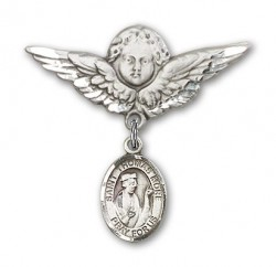Pin Badge with St. Thomas More Charm and Angel with Larger Wings Badge Pin [BLBP1025]