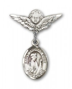 Pin Badge with St. Thomas More Charm and Angel with Smaller Wings Badge Pin [BLBP1026]