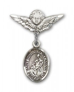 Pin Badge with St. Thomas of Villanova Charm and Angel with Smaller Wings Badge Pin [BLBP1997]