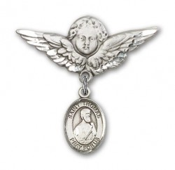 Pin Badge with St. Thomas the Apostle Charm and Angel with Larger Wings Badge Pin [BLBP1011]