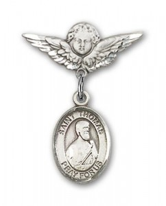 Pin Badge with St. Thomas the Apostle Charm and Angel with Smaller Wings Badge Pin [BLBP1012]