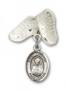Pin Badge with St. Timothy Charm and Baby Boots Pin [BLBP1000]