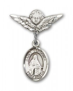 Pin Badge with St. Veronica Charm and Angel with Smaller Wings Badge Pin [BLBP1033]
