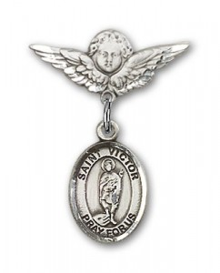 Pin Badge with St. Victor of Marseilles Charm and Angel with Smaller Wings Badge Pin [BLBP1446]
