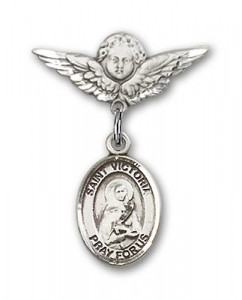 Pin Badge with St. Victoria Charm and Angel with Smaller Wings Badge Pin [BLBP1649]