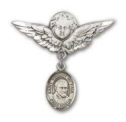 Pin Badge with St. Vincent de Paul Charm and Angel with Larger Wings Badge Pin [BLBP1186]