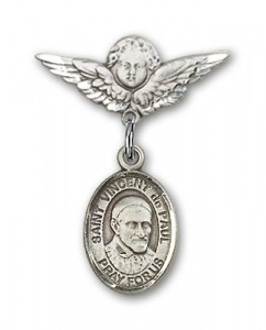 Pin Badge with St. Vincent de Paul Charm and Angel with Smaller Wings Badge Pin [BLBP1187]