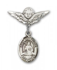 Pin Badge with St. Walburga Charm and Angel with Smaller Wings Badge Pin [BLBP1145]