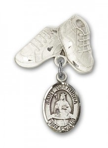Pin Badge with St. Walburga Charm and Baby Boots Pin [BLBP1147]