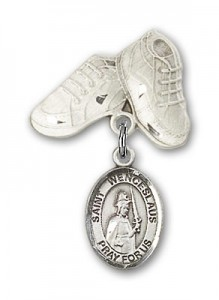 Pin Badge with St. Wenceslaus Charm and Baby Boots Pin [BLBP1784]