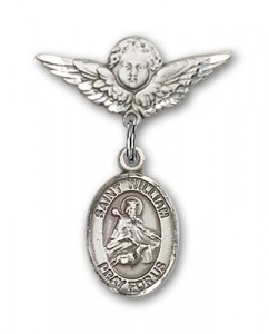 Pin Badge with St. William of Rochester Charm and Angel with Smaller Wings Badge Pin [BLBP1061]