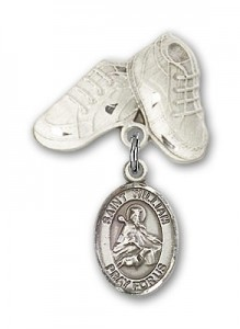 Pin Badge with St. William of Rochester Charm and Baby Boots Pin [BLBP1063]