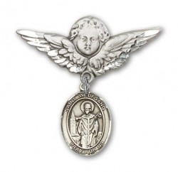 Pin Badge with St. Wolfgang Charm and Angel with Larger Wings Badge Pin [BLBP2122]