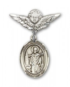 Pin Badge with St. Wolfgang Charm and Angel with Smaller Wings Badge Pin [BLBP2123]