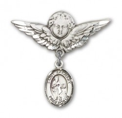 Pin Badge with St. Zachary Charm and Angel with Larger Wings Badge Pin [BLBP1074]